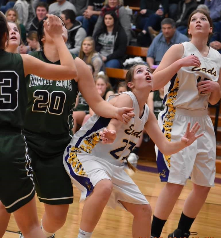 Senior Hadlie Rittgers (#23), shown here battling for position with Morgyn Johnson (#15) and against the Knighted Eagles' Andrea Hornung (#20), had a strong game in Eads' win over Stratton Liberty on Saturday. - Photo Credit Wilson Photography